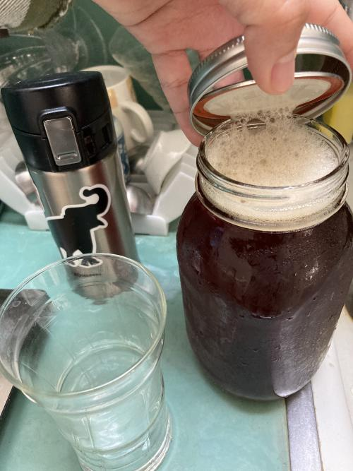 Mason jar filled with Anderson Valley Boont Amber Ale from Elsie's Tavern