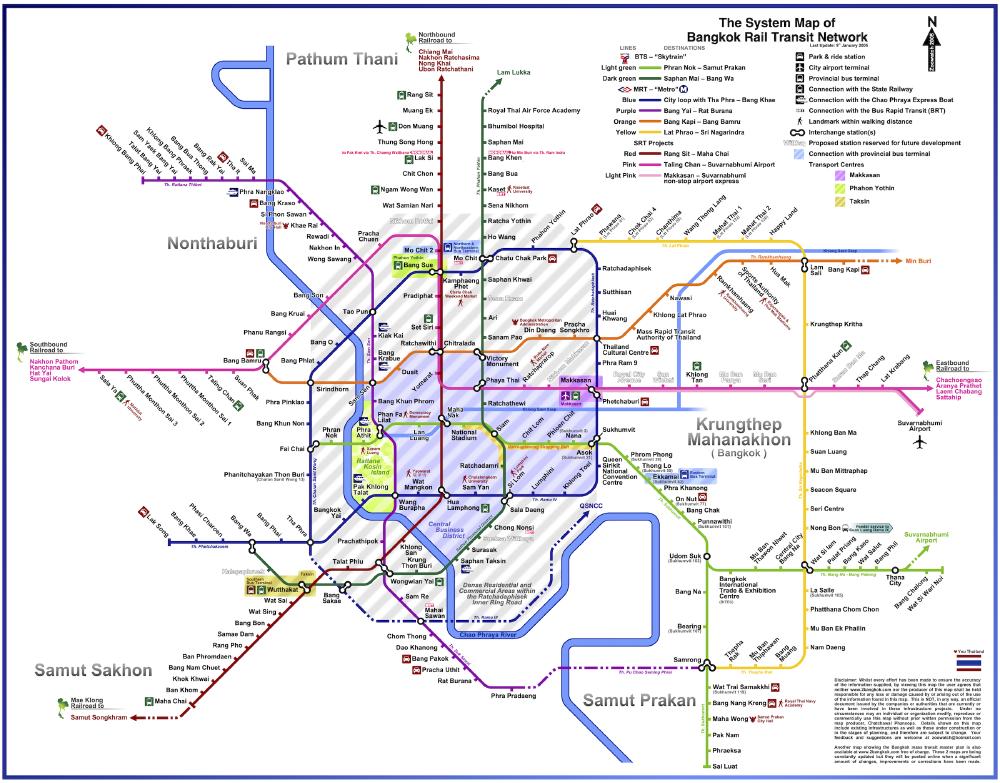 The System Map of Bangkok Rail Transit Network, 2005, Chatchawal Phansopa (zoowatch)