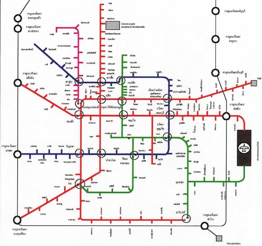 Topological-style map of the 1994 Mass Transit Master Plan from a 1995 issue of Manager Magazine Weekly, redrawn by Wisarut Bholsithi (ca. 2000, 2bangkok.com)