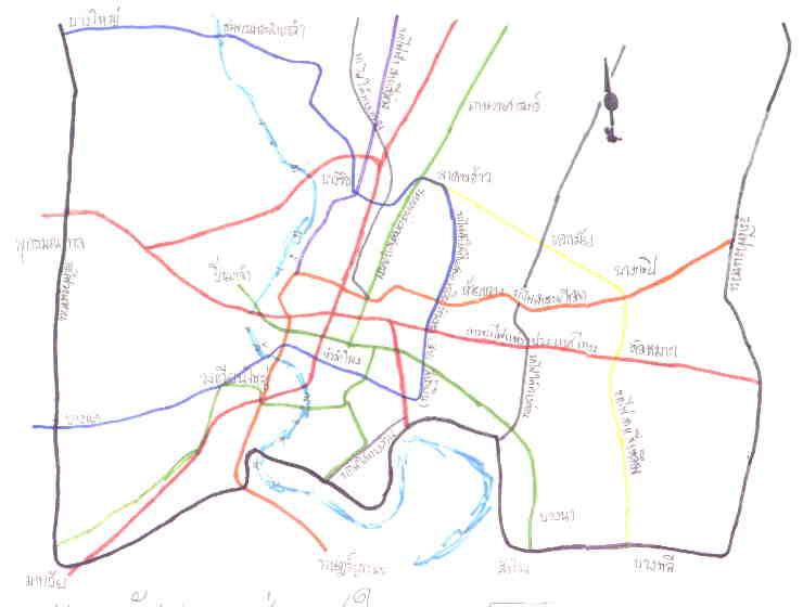 แผนที่ระบบขนส่งมวลชนกรุงเทพในอนาคต วาด 2544 โอฬาร วิริยินทรีย์